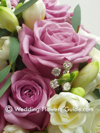 Diamante cluster in wedding bouquet flowers