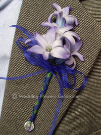 blue hyacinth boutonniere (buttonhole) for a wedding