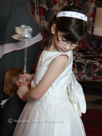 flowergirl wearing butterfly wings and holding a flower wand