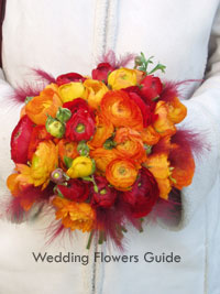 Fall wedding bouquet made from ranunculus