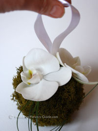orchid kissing ball for flowergirl
