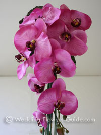 Silk wedding bouquet with phalaenopsis orchids.