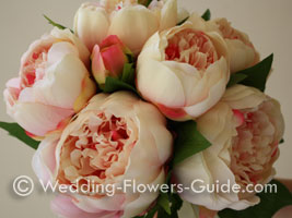 Silk wedding flowers featuring pink peonies