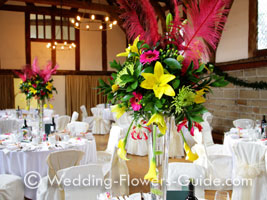 Tall wedding centerpieces with ostrich feathers